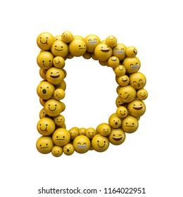 Letter D emoji character font. 3D Rendering
