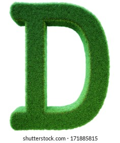 Letter of D from a green grass. Alphabet from a grass. Isolated on a white background in 3d