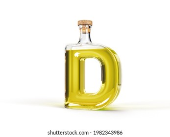 Letter D shaped bottle with olive oil inside. 3d illustration, suitable for cooking, alphabet and healthy eating themes