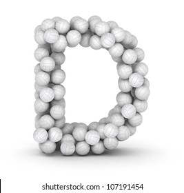 Letter D, from stacked volleyball balls