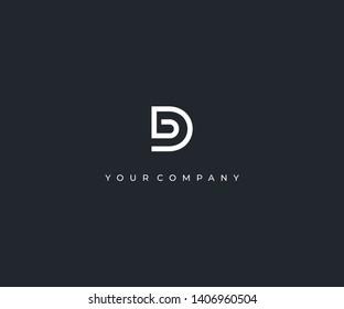 letter DB D B minimalist logo design template