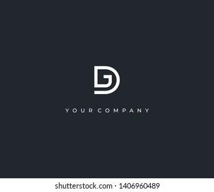 letter DG D G minimalist logo design template