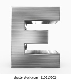 letter E 3d cubic metal isolated on white - 3d rendering