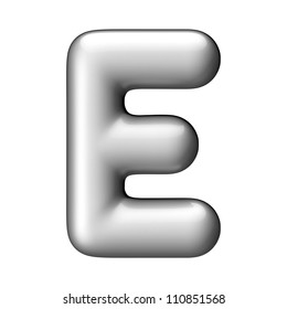 Letter E from aluminium round alphabet. There is a clipping path