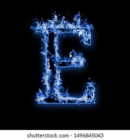 Letter E. Blue fire flames on black isolated background, realistic fire effect with sparks. Part of alphabet set
