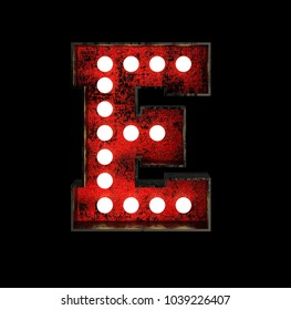 Letter E. Broadway Style Light Bulb Font made of rusty metal frame. 3d Rendering isolated on Black Background