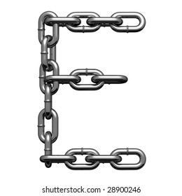 Letter E from chained alphabet. There is a clipping path