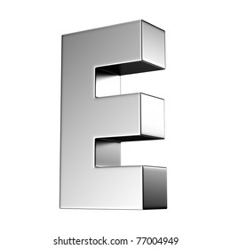Letter E from chrome solid alphabet. There is a clipping path
