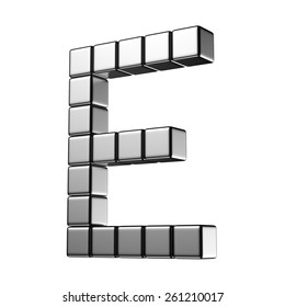 Letter E from digital cube middle perspective alphabet. There is a clipping path
