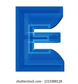 The letter E in a distinctive unusual wireframe 3D illustration in blue