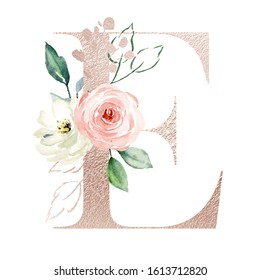 Letter e, gold alphabet letters with watercolor flowers roses and leaf. Floral monogram initials perfectly for wedding invitation, greeting card, logo, poster and other. Holiday design hand painting.
