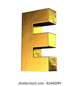 Letter E from gold solid alphabet. There is a clipping path
