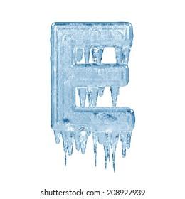 Letter E. Ice font isolated on white background. Alphabet.