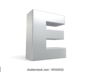 letter E in metal