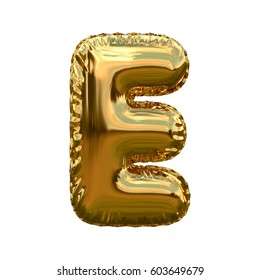 Letter E metallic blue shiny foil party celebration balloon a plain white background. 3D rendering