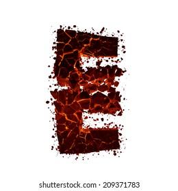 Letter E. Red burning fire alphabet isolated on white background.