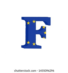 Letter F from the Alphabet printed with the Flag of the European Economic Community