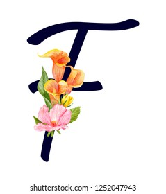 Letter F with hand drawn watercolor bouquet of flowers isolated on white background. Design element for invitations, tattoo, monogram, cypher