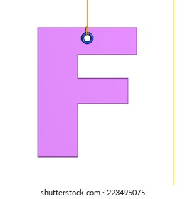 """Letter """"f"""" hung by a thread, isolated on white background"""