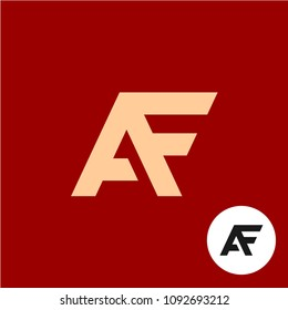 Letter A and F logo. AF ligature symbol. Stylized lettering one piece shape flat sign.