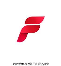 Letter f logo, elegant gradient red color abstract symbol, beauty modern logotype template design isolated on white image