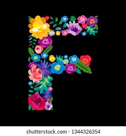 """The letter """"F"""" made of flowers on a black background. The letter of the English alphabet. Bright floral print. Great for T-shirts, cards and more."""