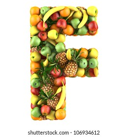 Letter - F made of fruits. Isolated on a white.