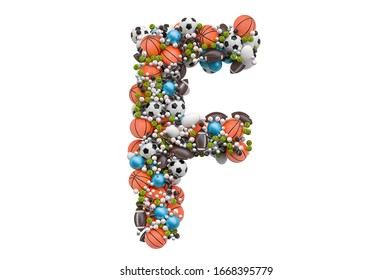 Letter F from sport gaming balls, 3D rendering isolated on white background