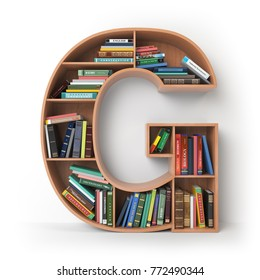 Letter G. Alphabet in the form of shelves with books isolated on white. 3d illustration