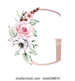 Letter G, floral pink and gold monogram, initial with watercolor flowers and leaf. Alphabet perfectly for wedding invitation, greeting card, logo. Holiday design letters, hand painting.