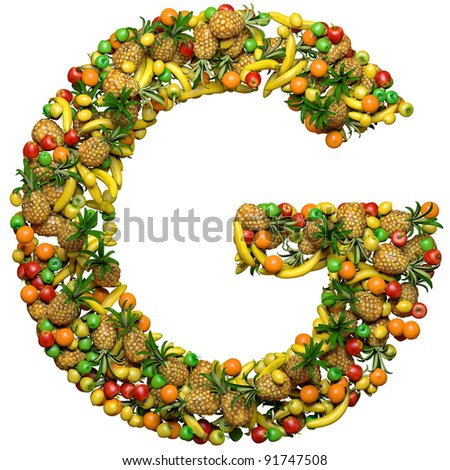 Letter G Made 3 D Fruits Isolated Stock Illustration 91747508