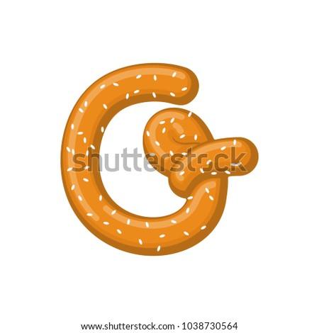Letter G Pretzel Snack Font Symbol Stock Illustration 1038730564