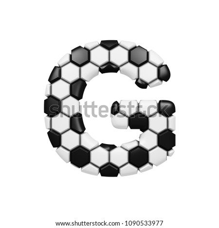 Letter G Textured 3 D Soccer Balls Stock Illustration 1090533977