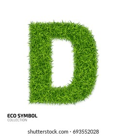 Letter of grass alphabet. Grass letter D isolated on white background. Symbol with the green lawn texture. Eco symbol collection.