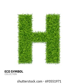 Letter of grass alphabet. Grass letter H isolated on white background. Symbol with the green lawn texture. Eco symbol collection.