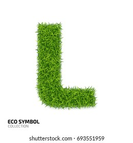 9b05d1791 Letter of grass alphabet. Grass letter L isolated on white background.  Symbol with the