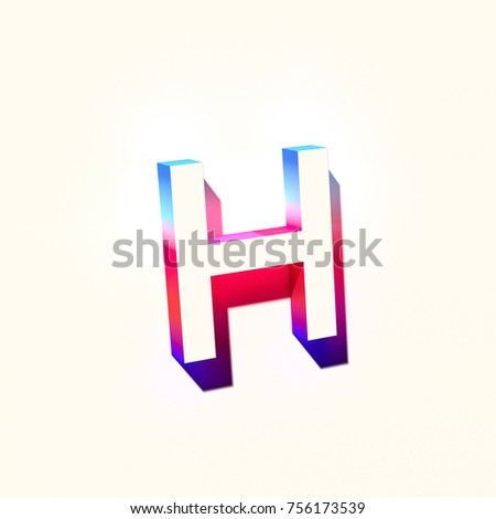 a6a53152edfb Letter H of blue and red color with colorful abstract gradient shadow. 3d  render of medium font letter H isolated on white background - Illustration