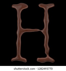 Letter H from chocolate droplets. Isolated on black background. 3d rendering.