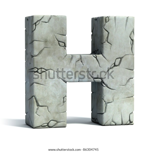 Letter H Cracked Stone 3d Font Stock Illustration 86304745