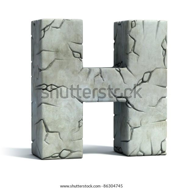 Letter H Cracked Stone 3d Font Stock Illustration 86304745