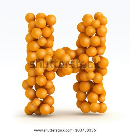 letter h font orange citrus fruits stock illustration 100738336