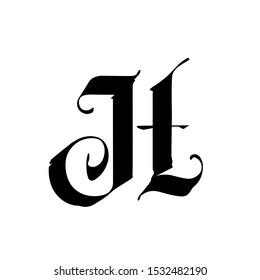 Letter H, in the Gothic style. Alphabet. The symbol is isolated on a white background. Calligraphy and lettering. Medieval Latin letter. Logo for the company. Monogram. Elegant font for tattoo.