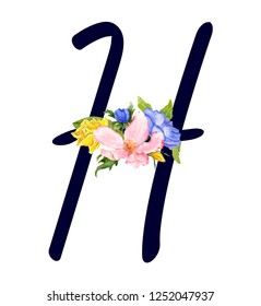 Letter H with hand drawn watercolor bouquet of flowers isolated on white background. Design element for invitations, tattoo, monogram, cypher