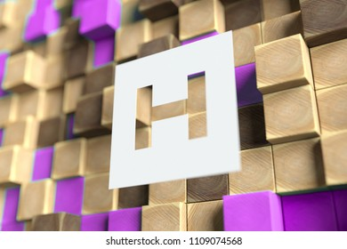 Letter H on the Wood Pattern With Violet Dots on Background. 3D Illustration of Letter H for Wallpapers and Abstract Backgrounds.