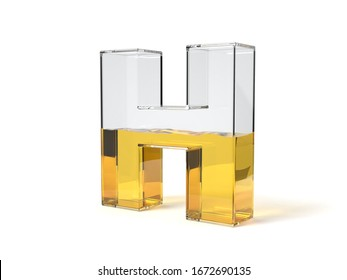 letter H shaped glass half filled with yellow liquid. suitable for fuel, oil, honey and any other liquid themes. 3d illustration