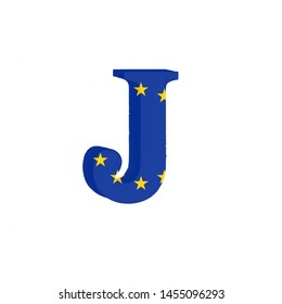 Letter J from the Alphabet printed with the Flag of the European Economic Community