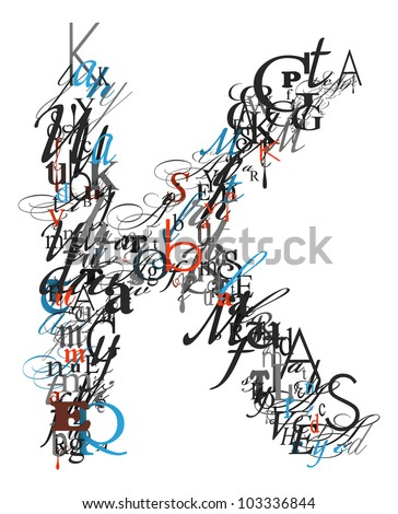 Letter K Alphabet Different Font Letters Stock Illustration