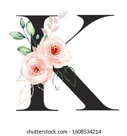 Letter k, alphabet with watercolor flowers roses and leaf. Floral monogram initials perfectly for wedding invitation, greeting card, logo, poster and other. Holiday design hand painting.