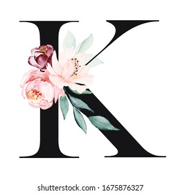 Letter k, floral alphabet, monogram with watercolor flowers roses arrangement. Letterhead perfectly for personalization design. Hand painting. Isolated on white.
