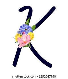 Letter K with hand drawn watercolor bouquet of flowers isolated on white background. Design element for invitations, tattoo, monogram, cypher